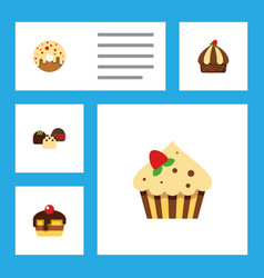 Flat cake set of confectionery cake cupcake and vector