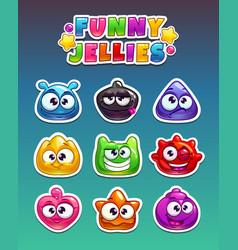 funny cartoon stickers vector image vector image