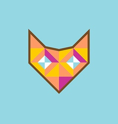 Geometric fox head logo with diamond eyes vector
