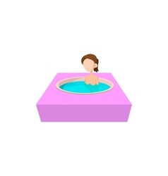 Girl taking bath in hot spring bathtub icon vector image