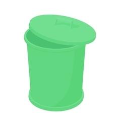 Green trash can icon cartoon style vector image vector image