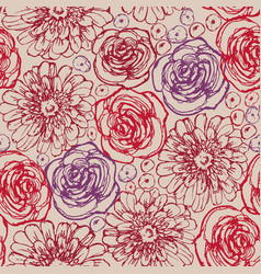 Hand drawn flowers seamless pattern roses vector