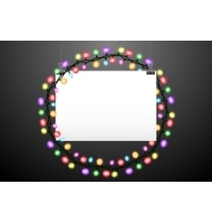 Hanging paper and lights vector