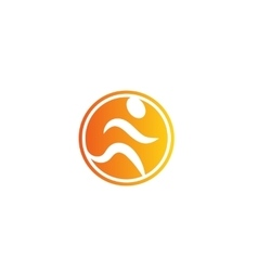 Isolated abstract orange color running man logo vector