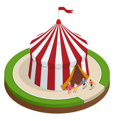Isometric circus tent and children vector