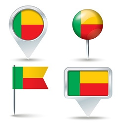 Map pins with flag of Benin vector image vector image