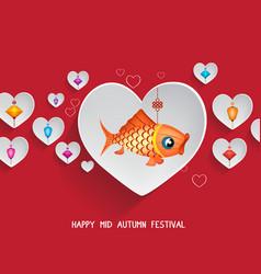 mid autumn lantern festival hearts background vector image