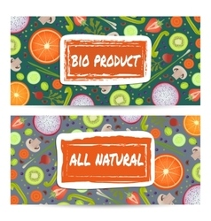Natural food horizontal flyers set vector