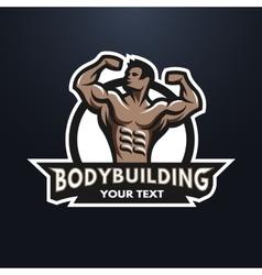 Posing bodybuilder emblem vector