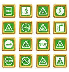 Road sign set icons set green vector
