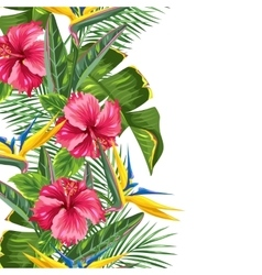 Seamless border with tropical leaves and flowers vector