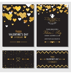 Set of love cards with gold glitter vector
