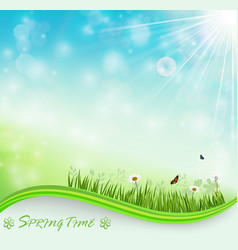Springtime meadow background vector
