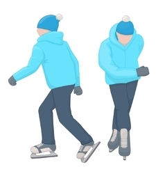 Two ice skaters man cartoon and character vector