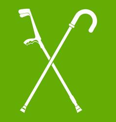 walking cane icon green vector image vector image