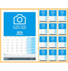 Wall monthly calendar planner for 2016 year design vector