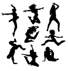 Modern dance and hip hop silhouettes vector
