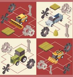 Farm vehicles isometric concept vector