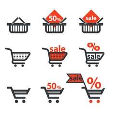 Dicsount icons with shopping cart and trolley vector image