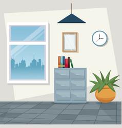 Color scene background workplace office design vector