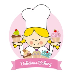 pastry girl vector image