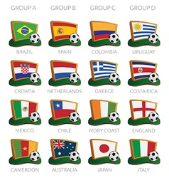 soccer cup 2014 icons vector image
