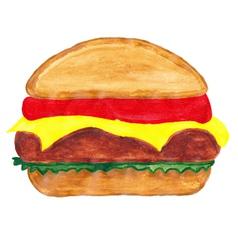 burger watercolors vector image