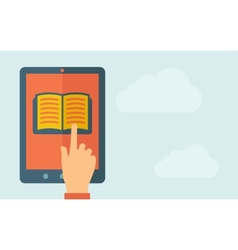 Touch screen tablet with book icon vector