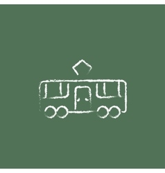 Tram icon drawn in chalk vector