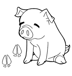 Pig with paw print coloring page vector