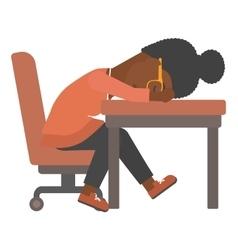 Woman sleeping on table vector image