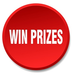 Win prizes red round flat isolated push button vector