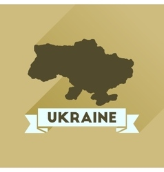 Flat icon with long shadow map of ukraine vector