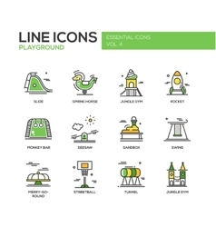 Children playground line design icons set vector