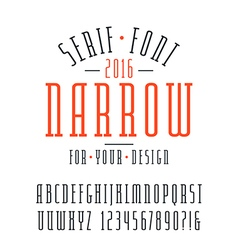 Narrow serif font and numbers vector image