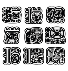 Mayan writing system maya glyphs and languge maya vector