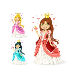 The beautiful fairy princess in a different color vector