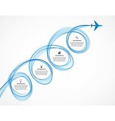 Abstract infographic airplane and wave a blue vector