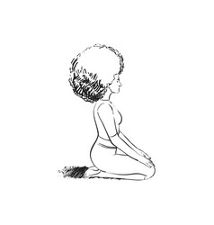 Beautiful girl meditates sitting on her lap vector