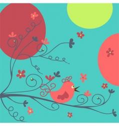 Bird and flowers vector