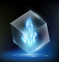 Blue flame inside a glass cube vector