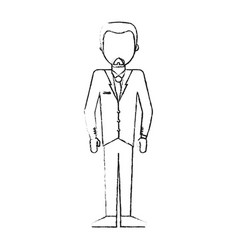 Blurred silhouette caricature faceless man formal vector