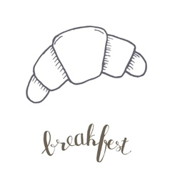 Breakfest hand drawn icon over white background vector image