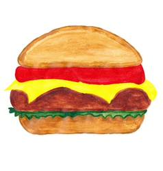 burger watercolors vector image