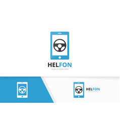 Car helm and phone logo combination vector