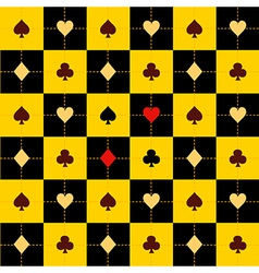 Card Suits Yellow Black Chess Board Background vector image vector image