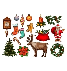 Christmas and new year holidays sketch set vector