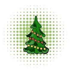 Christmas tree comics icon vector image