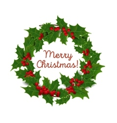 Christmas wreath of holly vector image