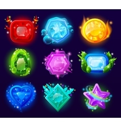 Computer game magic gems set vector